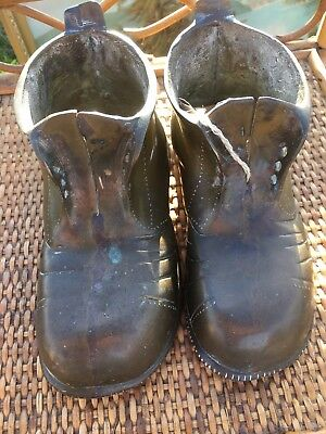 Two 2 Brass Boots Vintage