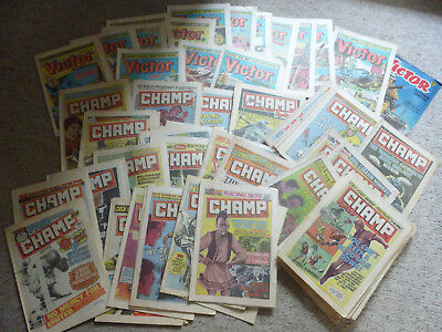 Vintage 75+ Victor And Champ Comics / Magazines Joblot - 1980s - Used condition