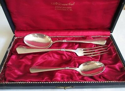 Antique Vintage 1920s Presentation Spoon Fork Set 800 Silver Germany Box