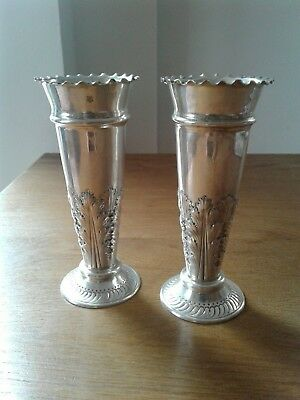 Antique Solid Sterling Silver Pair Of Vases London 1903