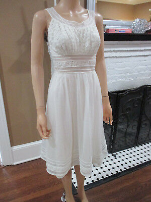 VINTAGE WEDDING WHITE fitted flaire EARLY 60's NIGHTGOWN sz 34 XS by shadowline