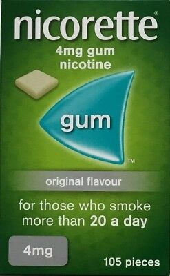 Nicorette Original 4mg Gum - 105 pieces  (Genuine)