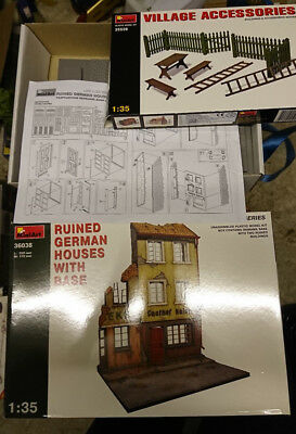 MiniArt 36038 Ruined German Houses With Base + 35539 Village Accessoires 1:35