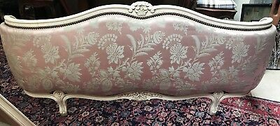 french double corbelle bed in oyster pink silk damask