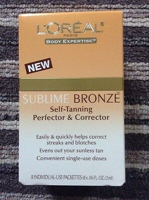 2 L'Oreal Sublime Bronze Self Tanning Perfector & Corrector 8 Sachets -  New
