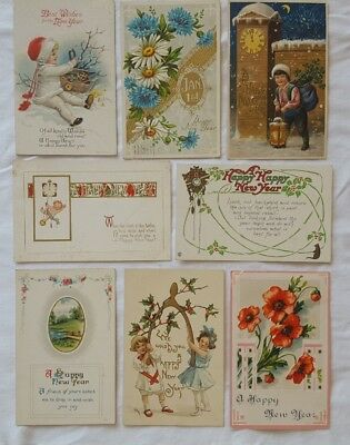 Vintage New Years Postcards, Lot Of 8, Early 1900's