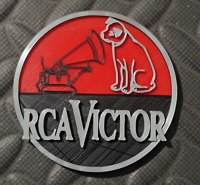 RCA Victor Badge His Master's Voice tube radio microphone antique logo vintage