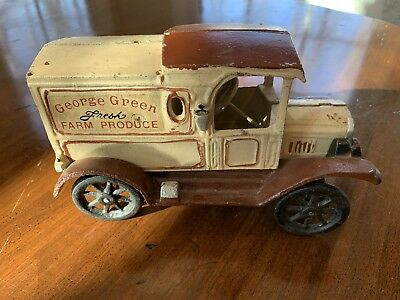 Antique Toy  Model Cast Iron Delivery Truck George Green Farm Fresh Produce