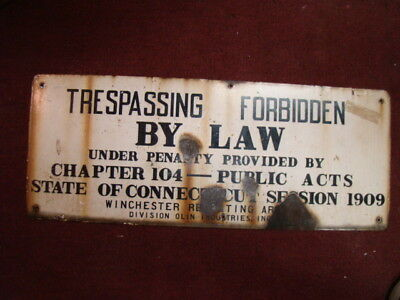 "32"" old 1909 Winchester Repeating Arms firing range porcelain sign Olin Corp"