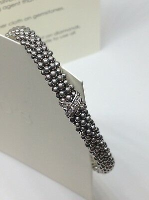 "Lagos Sterling Silver Diamond Lux ""x"" Brecelet 7"""
