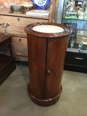 Victorian Cylindrical Walnut Bedside/ Pot Cupboard with a Marble Top