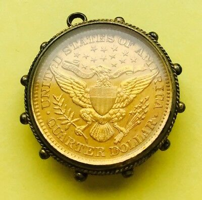 Uncirculated 1900 Barber quarter dollar coin/ encapsulated & gold gilt.