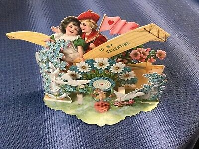 Vintage 3D And Honeycomb Valentine With White Dove. Made In Germany.