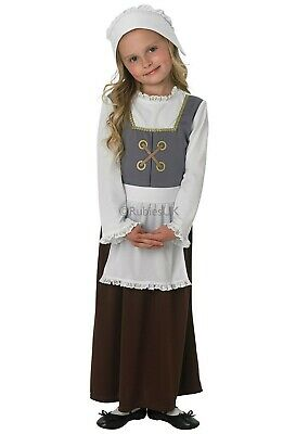 Tudor Peasant Wench Medieval Servant Poor Girls Kids Historical Fancy Dress