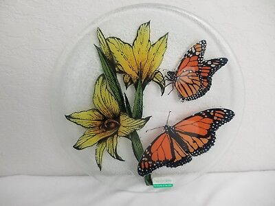 """Peggy Karr Fused Plate Butterfly Yellow Flowers Art Glass Large 11"""" Beautiful!"""