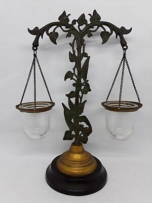 Antique Vintage Brass Scale of Justice Ornate Candle Holder