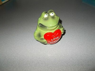 Russ Berrie green ceramic Toad Frog themed Love Tokens decorative jar decanter