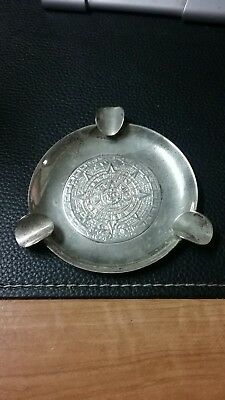 Vintage Mexican Sterling Silver Ashtray STERLING Mex cigarette Mayan coin tray