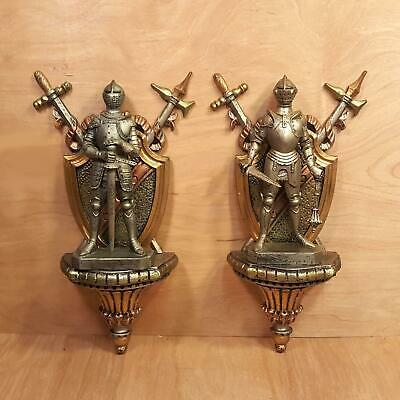Vintage SET Of 2 ~ 3D Medieval KNIGHT w/ Sword WALL HANGING ~ Made in Italy
