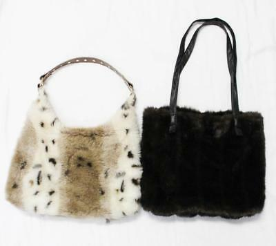 92a1643a1895 Mixed Lot of 2 Handbags Tianni and Adore Faux Fur Light Animal Print Dark  Brown