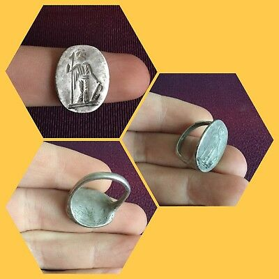 Rare ancient Roman Silver legionaries ring , 1st to 3rd Century ad