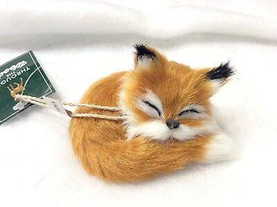 Brown Faux Fur Sleeping FOX Christmas Ornament