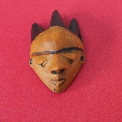 Fine Old African Tribal Art Congo Pende Tribe Wooden Amulet Talisman Face Mask