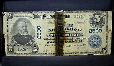 1902 Pb $5 National Bank Note ✪ 1St Ntl Bank Of Toms River ✪ Nj 2509 ◢Trusted◣
