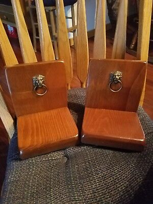Vintage Solid Wood Book Ends with Brass Lion Head Door Knocker MaLeck Executive