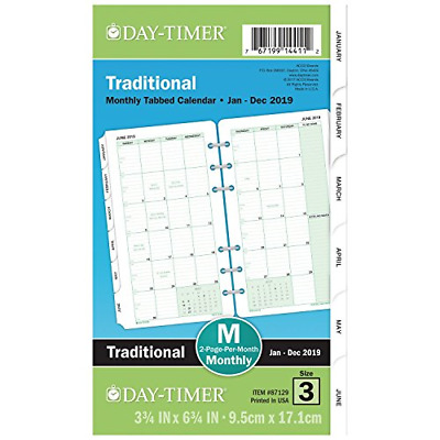 Day-Timer Monthly Classic Refill 3 3/4 x 6 White/Green 2019 87129