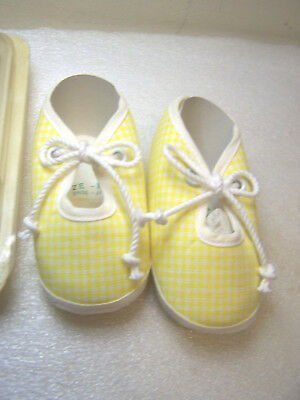 First Step Tie  yellow & white Baby Shoes sz-1 made in  Japan  NIB