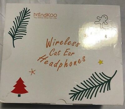 Mindkoo Cat Ear Wireless Bluetooth Foldable Stereo Headphone W/LED Light Pink