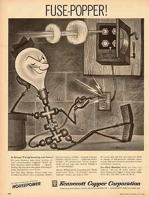 1950s vintage ad for Kennecott Copper Corp. 'Fuse-Popper' Cartoon  -051012