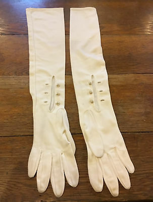 "Vintage long, over the elbow women's gloves.  Off white & 22.5"" long w/3 buttons"