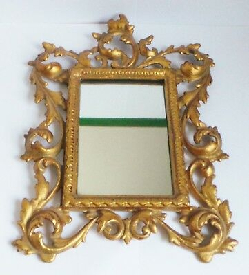 CAST GOLD GILTED ROCOCO BAROQUE STYLE MIRROR - c1900 - SMALL