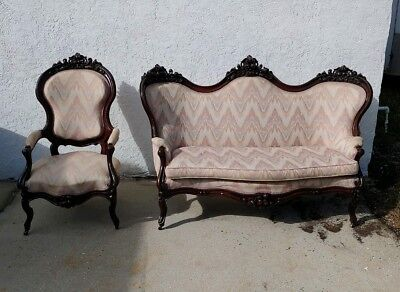High End Antique Mid Victorian Carved Rosewood Settee Sofa & Matching Chair