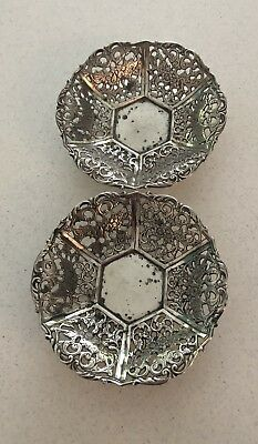 A Pair Of French Silver Hallmarked Filigree Bon Bon Dishes.