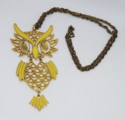 Vintage Estate Large Yellow Enamel Owl Statement Necklace Jewelry Lot ~ 24""
