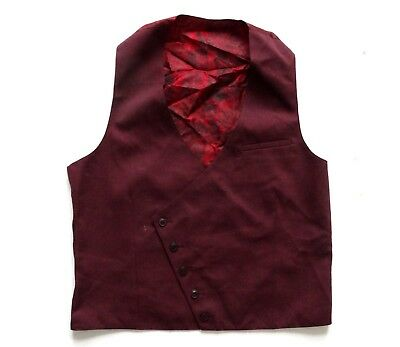 "Men's Vintage Burgundy Waistcoat Retro Medium Mens 38"" Chest"
