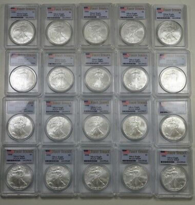 20 x PCGS MS69 First Strike Silver Eagles - 19 Consecutive Certification Numbers