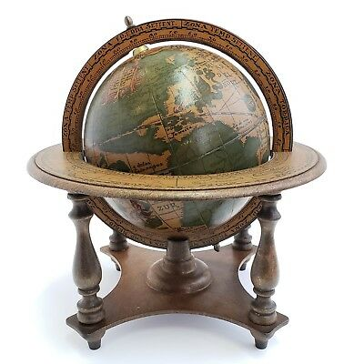 "Vintage OLDE WORLD ZODIAC GLOBE 6"" DIAMETER WOOD STAND MADE IN ITALY 10.5"" TALL"