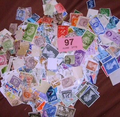 Kiloware Over 1000 GB Stamps all eras, conditions and reigns QV-QE2 Bag 97