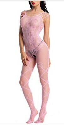 OS A34 Pink, Exotic Dancer, Stripper Clothes, Body Stocking Outfit Clothes