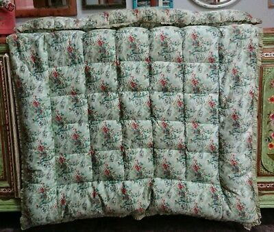 Antique 50s green french floral vintage Pattern Eiderdown Quilt Bedspread Single