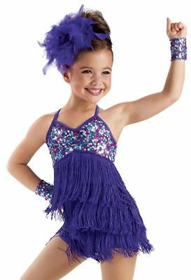 NEW Dance Costume Medium Adult Purple Fringe Dress Solo Competition PageantGlitz