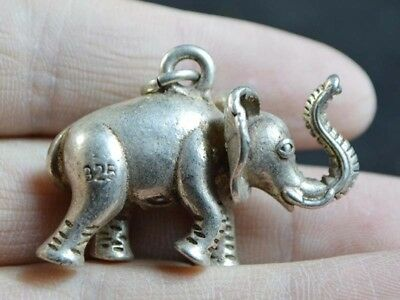 Vintage China Statue/Pendant Silver Copper Casting Figure Of Elephant 19. Jhd