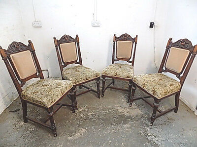 four,antique,mahogany,Edwardian,dining chairs,carved,floral,upholstered,castors,