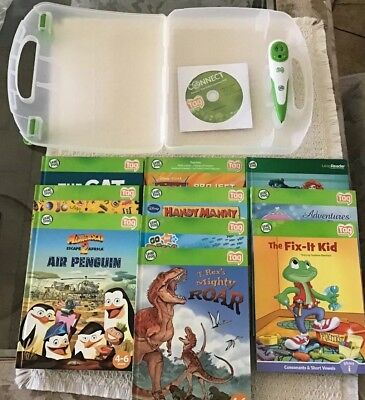 Leap Frog Tag Reading System Lot. 10 Books, Case, Installation CD, and Pen