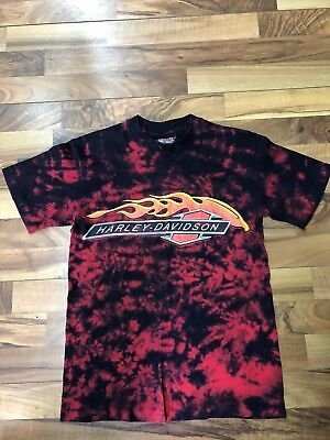 Vintage 1980's Harley Davidson Tye Dye Eagle Tee Shirt Graphic Flames USA Made S