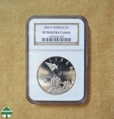 2005-P Marines 230th Anniversary Silver Dollar -NGC Certified- PF 70 ULTRA CAMEO